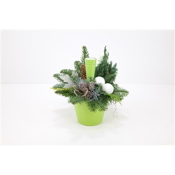 Kerststuk keramiek, groen