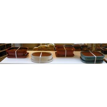 empty bonsai pots + plates, 31-32 cm. 4 pcs per box