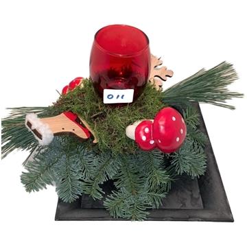 Melam 4 kantschaal +waxine  kleuren kaarsen rood,goud,wit