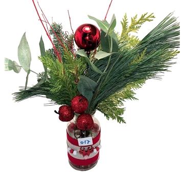 Kerstgroen Boeket medium rood,goud,wit, ass