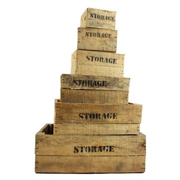 Set storage kisten naturel (set van 6)