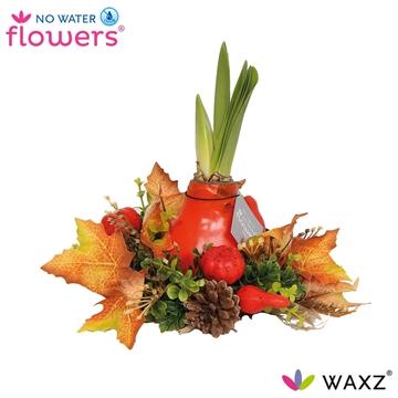 No Water Flowers Waxz® Autumn Wreath Orange