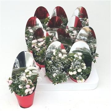 Kerst Pernettya P7 met Spiegelhoes en Glitters Zilver
